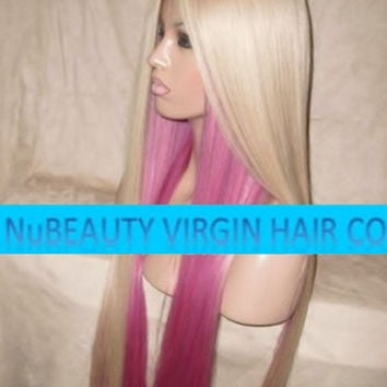 "CUSTOM COLORED Human Hair Wig Full Lace 26"" Very Long Straight 2 Tone Pink Light Blonde #60"