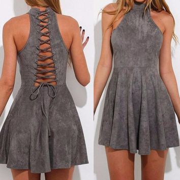 2017 New Mini Dress Backless Summer Solid Fashion Dress For Women Sleeveless Women Casual Fit Flare Dress Gray Halter