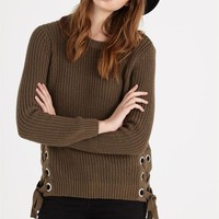 gretelle lace up sweater