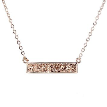 Rose Gold Druzy Bar Necklace