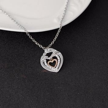 Mother Holding Child Silver Double Heart Crystal Pendant Necklace