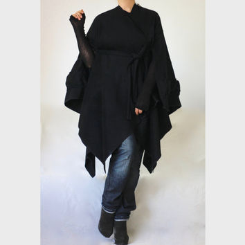 Maternity Cashmere Winter Poncho /Plus Size Cashmere Coat / Maternity Black Cashmer Cape Coat Poncho /Made to Measure Poncho/ Winter Coat