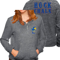 Kansas Jayhawks Original Retro Brand 1/4 Zip Pullover - Jayhawks Womens Grey Tri-Blend Fleece Long Sleeve Pullover
