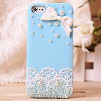 Lace Bow Pearl Rhinestone Case For Iphone 4/4s
