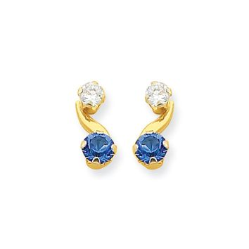 Kids Synthetic Sapphire and CZ 14k Yellow Gold Drop Earrings