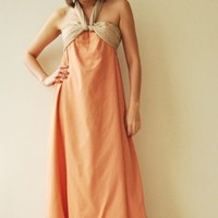 Feel So Good ...Orange Halter Maxi Cotton dress  2 Sizes Available