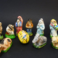 10 Nativity Feves French Vintage 50's made in France Handmade 10 crib miniatures for king cake or collectibles handpainted Gift