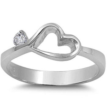 Sterling Silver Centered Heart Ring with Small Simulated Diamond
