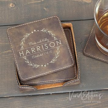 Square Personalized Leather Coaster Set of 6 - Rustic CB10
