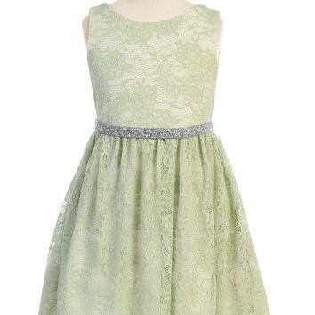Mint Green Stretch Floral Lace Dress with Belt Girls Plus 14.5-20.5