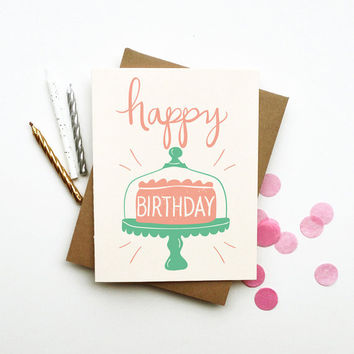 Happy Birthday cake illustrated drawing birthday card pastels candles retro vintage style calligraphy handwriting pink mint white