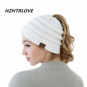 High Quality Cotton Two Style Women's Girl Stretch Knit Hat Messy Bun Ponytail Beanies Holey Warm Winter Hats