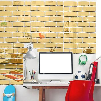 DIY Wall Decoration Brick Wallpaper Wall Sticker Waterproof Kitchen Self-adhesive Kids Rooms Acrylic Mirrored Decorative Sticker