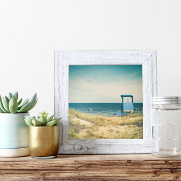 Square beach print, summer photography, lifeguard stand, ocean, vintage, travel, North Carolina, wall art home decor, sand dunes beach grass