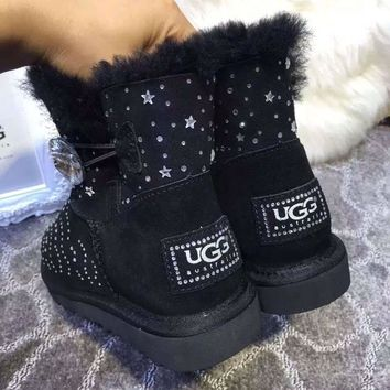UGG Women Fashion Rhinestone Tube in Boots Snow Boots Shoes