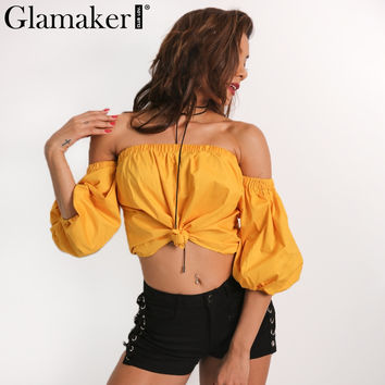 Glamaker 2017 Spring lantern sleeve off shoulder blouse shirt women Sexy short crop top Fashion elegant cool blouse blusas