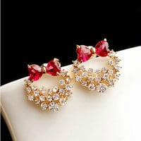 New Arrival Gift Shiny Jewelry Stylish High Quality Korean Butterfly Hollow Out Rhinestone Earring Ring [6586202055]