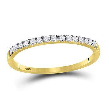 14k Yellow Gold Round Diamond Women's Slender Stackable Size 10 Wedding Band 1/6 Cttw - FREE Shipping (US/CAN)