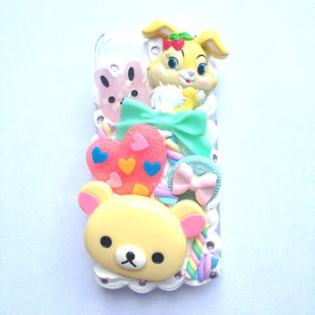 Kawaii Cute Bunny Rilakkuma Marshmallow Pastel Heart by Clotique