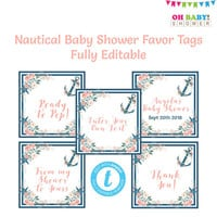 Nautical Baby Shower Favors, Nautical Thank You Tag, Favor Tags Template, Custom Favor Tags, Favor Tags Printable, Nautical Favors, NA01