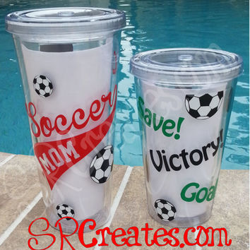 Soccer Tumbler, Soccer Mom, Soccer Coach - 16 or 20 oz Personalized Tumbler