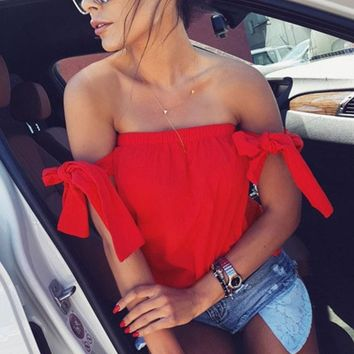 Summer Strapless Tops Tops Sexy Elastic  Tops