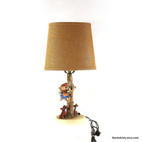 1950s Baby Nursery Lamp, Girl in Tree Escaping From Puppy Dog by Hummel