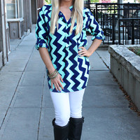 Come on Down Chevron Blouse - Mint