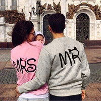 Blusas 2016 ZANZEA Casual Long Sleeve Tops Mr Mrs Printed Pullover Hoodies Couples Lovers Sweatshirt Men Women Plus Size 1 pc