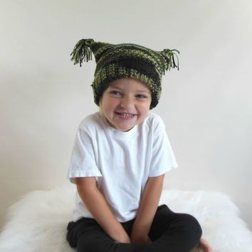 Knit Square Tassel Hat in Toddler Size Camo
