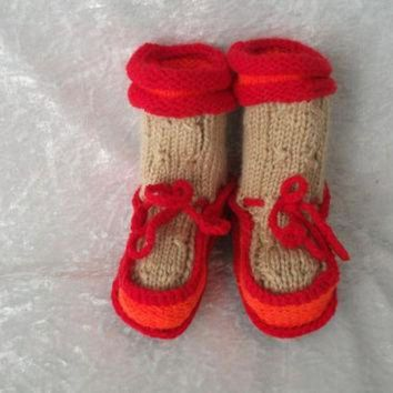 ICIK8X2 Ugg boots for baby Handmade of angora with duble sole