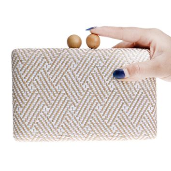 Wooden metal women handbags knitted material small purse day clutches evening bags chain evening bag for wedding/dinner