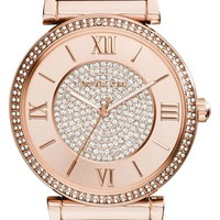 Women's Michael Kors 'Catlin' Crystal Accent Leather Strap Watch, 38mm