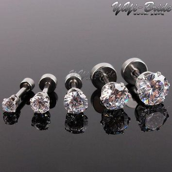 ac PEAPO2Q 5pcs 3-7mm Zircon Ear Piercing Unique Design Silver Stainless Steel Fake Piercing Tunnels Stud Body Piercing Jewelry Women