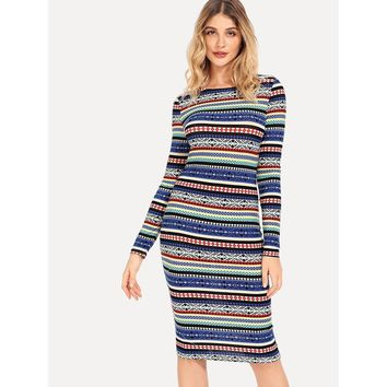 Multicolor Plaid Pencil Dress Long Sleeve