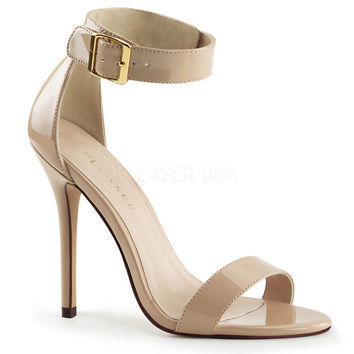 Pleaser USA Amuse Shiny Cream Ankle Strap Pumps