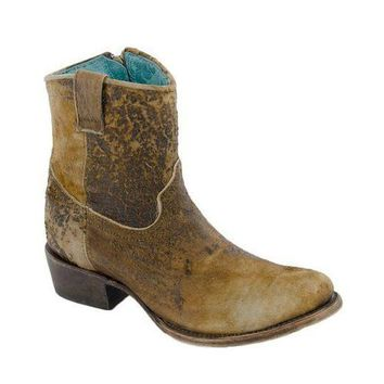ICIKAB3 Corral Chocolate & Tan Lamb Abstract Leather Boots C1064