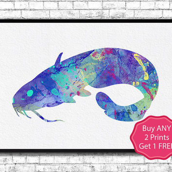 Catfish Watercolor Print Catfish Illustration Wall Hanging Animal Giclee Print Home Decor Wall Art Catfish Art Catfish Poster Blue Catfish