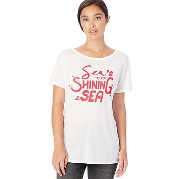 SEA TO SHINING SEA WHITE & RED OPEN BACK T-SHIRT