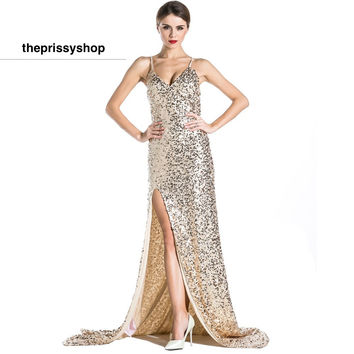 Dripping Gold Gown Dress