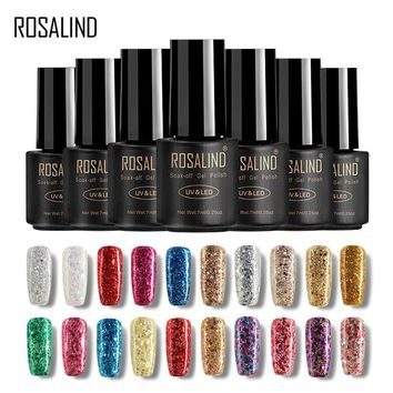ROSALIND 7ML Nail Polish Diamond Glitter Gel W01-29 Gel Nail Polish Nail Art UV&LED Soak-Off Glitter Manicure nails