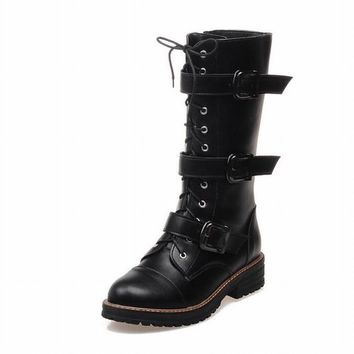 Carolbar Women's Fashion Buckles Zipper Lace up Combat Cosplay Gothic Lolita Punk Style Low Heel Motorcycle Boots