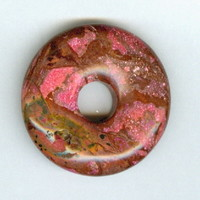 32mm Dyed Pink Agate PI Donut Pendant Gemstone Bead