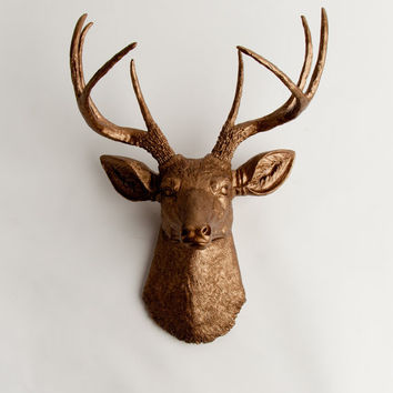 White Faux Taxidermy - Faux Deer Head - The Bennett - Bronze Resin Deer Head- Stag Resin Bronze Faux Taxidermy- Chic & Trendy