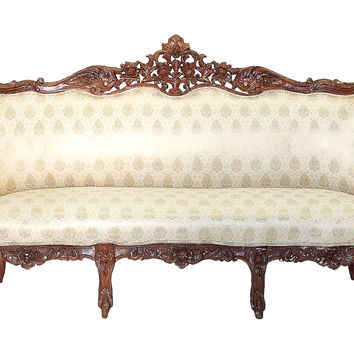 Antique Heavily Carved Victorian Sofa