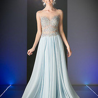 Runway fully embellished Perry Blue Sheer Mesh Chiffon Long Prom Dress Gown
