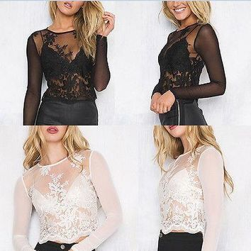 Fashion Sequins Women Sexy Leotard Top with shorts playsuit Ladies Patchowrk see through blouse long sleeve mesh top shorts