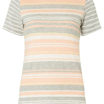 Apricot Striped Curve Hem T-Shirt | Dorothyperkins