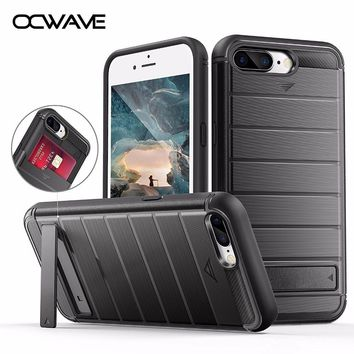 OCWAVE Shockproof case for iPhone 7 Plus Luxury wallet credit card holder with Kickstand support 360 protect men's style