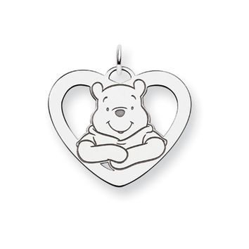 Disney's Sterling Silver Large, Winnie the Pooh Heart Charm